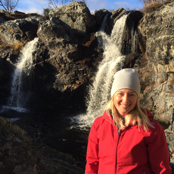 Hiking to a waterfall in Vemdalen with friends.