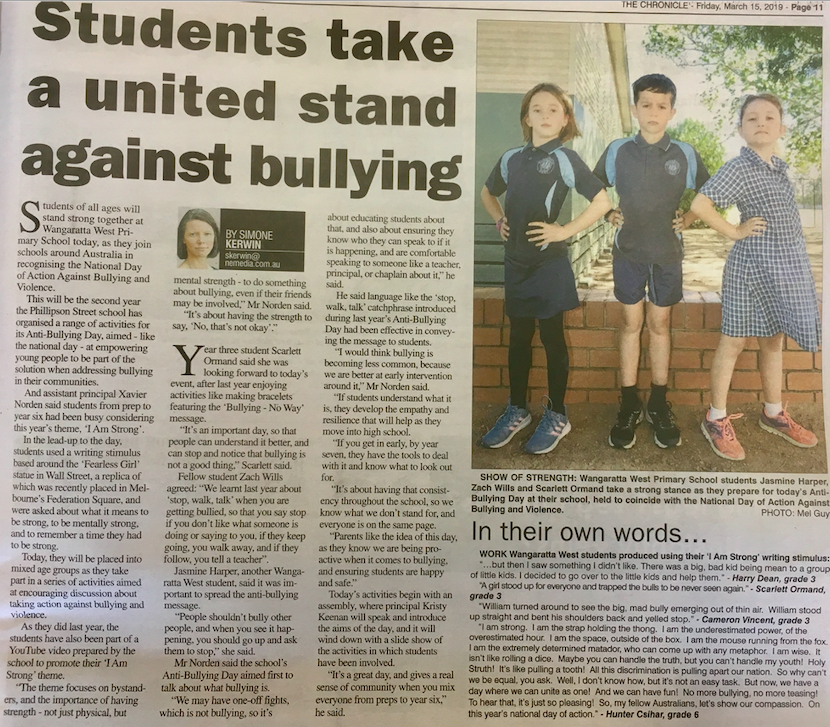 Friday 15th March, 2019 - Students take a united stand against bullying
