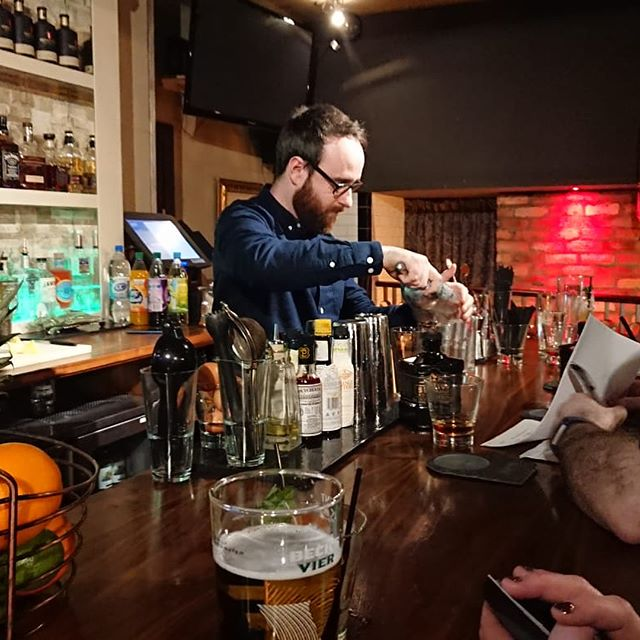 Great fun at The Sexton Cocktail competition last night. Some beautiful drinks and lashings of craic.  Well done to @aaron_mcadams (Fufty) for coming up with the goods and taking home the prize.  It's not the winning that counts, it's the taking part. Except it is the winning that counts because we won!  #cocktailcompetition #cocktails #whiskey #sexton #mixology #cathedralquarterbelfast #belfast