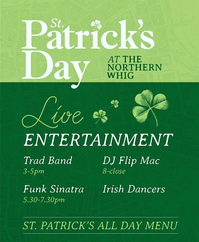 Great entertainment, great food and great craic all day long! Who's excited??? ☘️☘️☘️☘️☘️ #stpatricksday #stpaddys #entertainment #livemusic #irishdancing #northernwhig #cathedralquarter #belfast