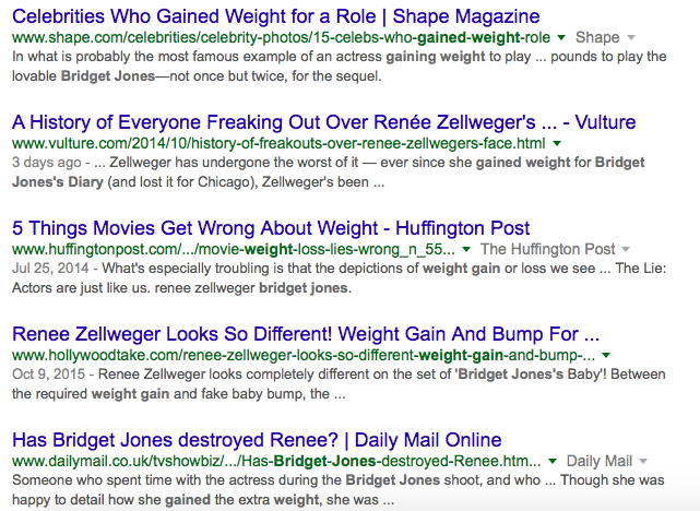 """Google search for """"Renée Zellweger weight gain"""""""