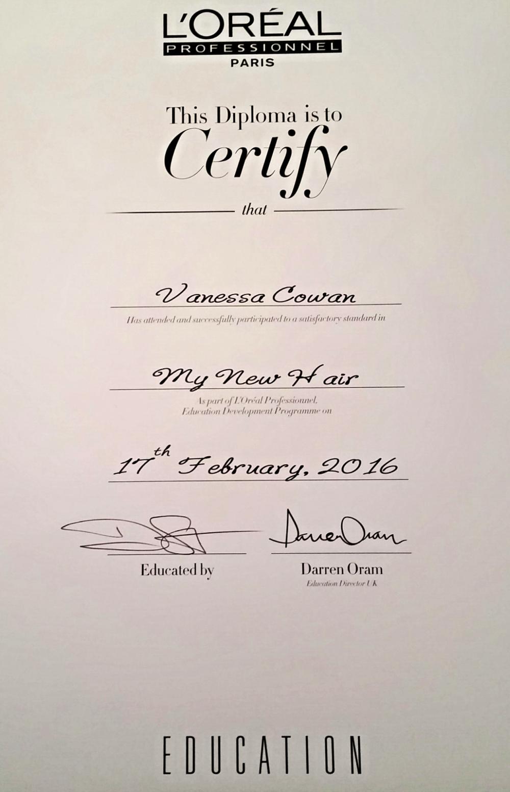 Vanessa's MyNewHair Certificate