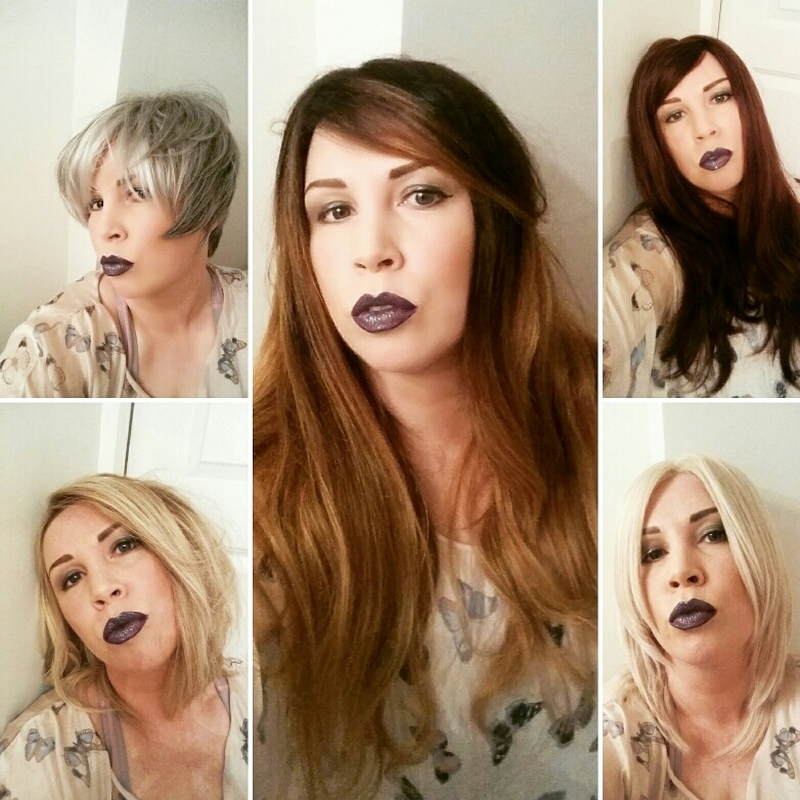 A  montage of Ellen Wille, Trendco, Jon Renau and Rene of Paris wigs. Just to show you that you dont have to stick to one colour or style