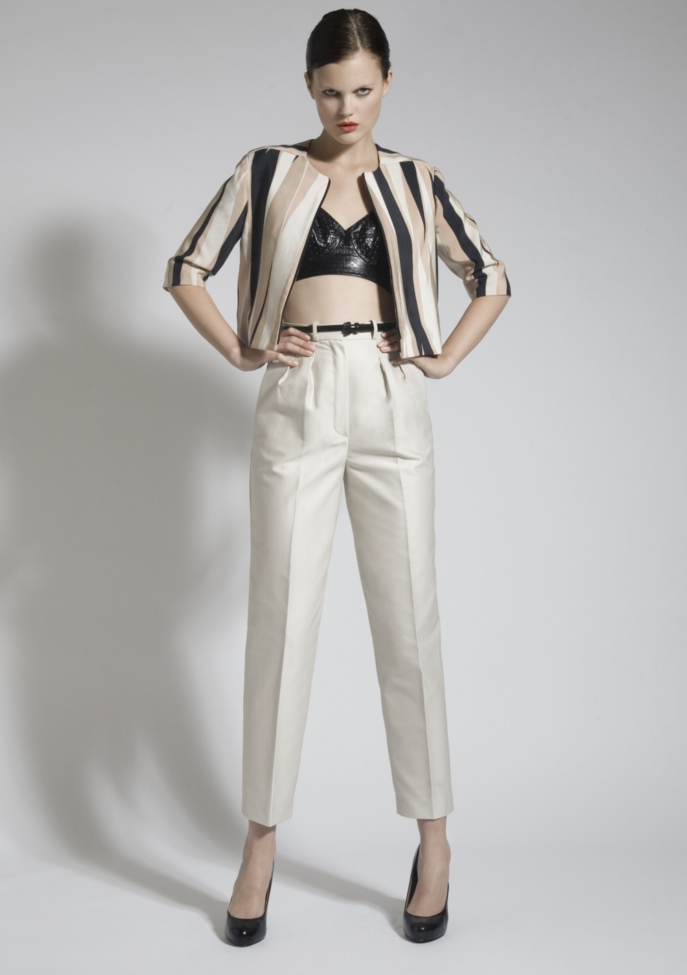 8 Silk Screen Crop Jacket, Leather Bra, Cotton Trousers.jpg