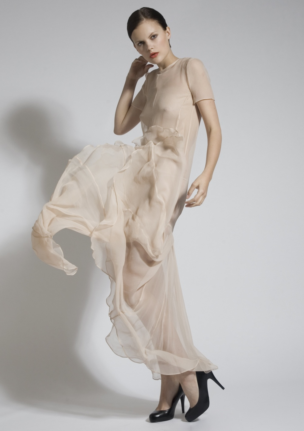 9a Nude Chiffon Pleat Dress.jpg
