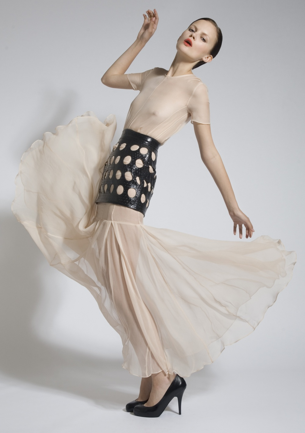 10 Chiffon Pleat Dress, Leather Laser Cut Skirt.jpg