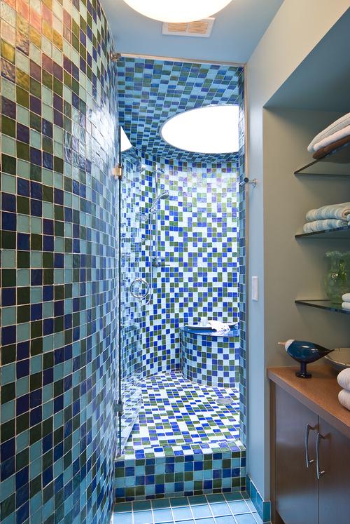 blue tile shower remodel in minneapolis - Minneapolis Bathroom Remodel