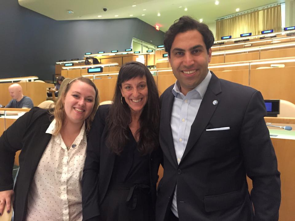 Footage's Kristen Ali Eglinton and Zoe Smolen with United Nations Secretary-General's Envoy on Youth Ahmad Alhendawi.