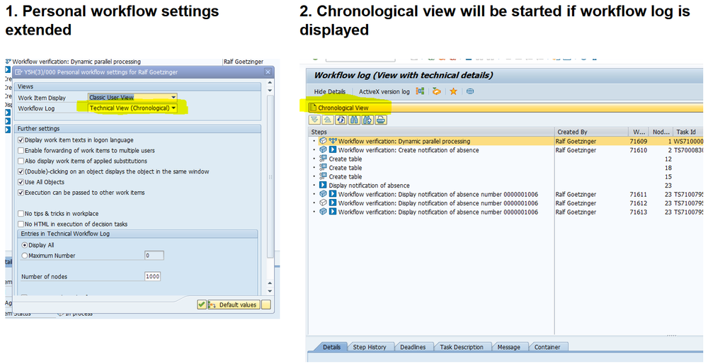 Chronological View in Technical Log as a User Setting