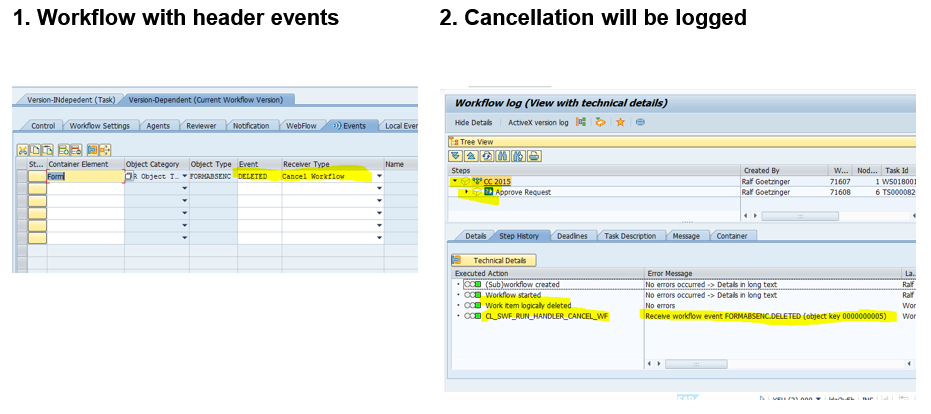 Display the event who canceled the workflow in the logs