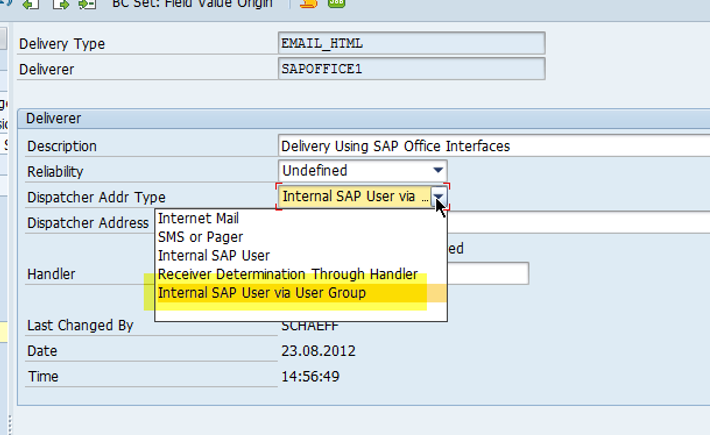 New address type 'Internal SAP user via User Group' available
