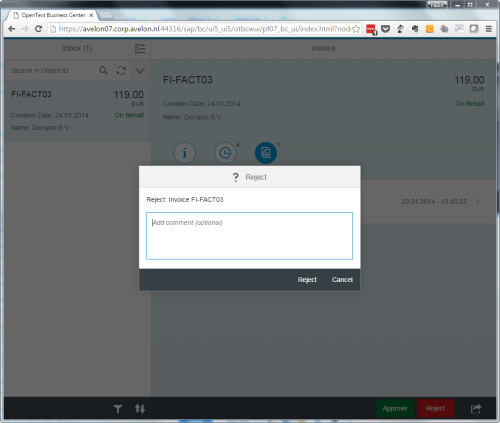 Fiori invoice app comment options