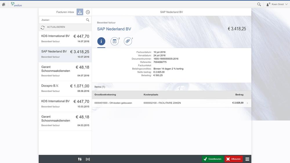 Avelon Fiori Invoice Approval: overzicht en details