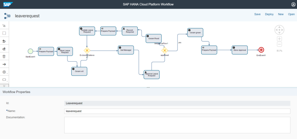 SAP Cloud Platform Workflow editor