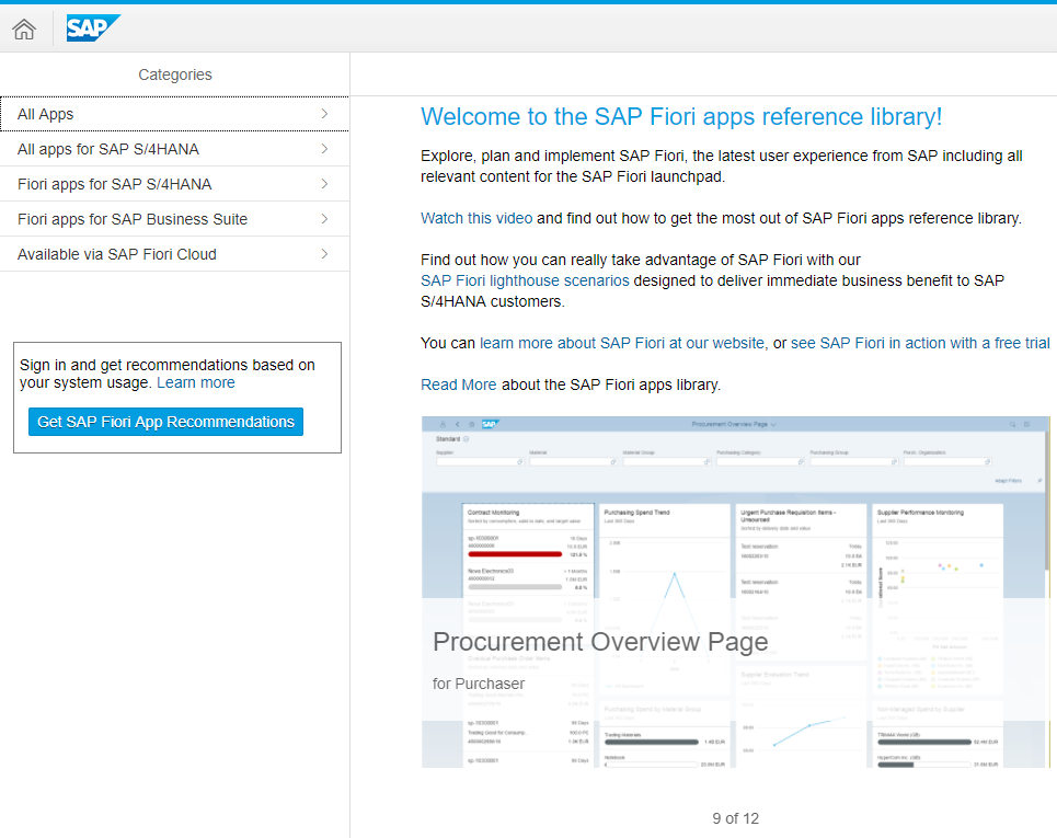 Fiori Apps Library en SAP Fiori App Recommendations Analysis.