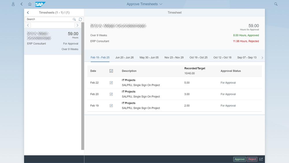 SAP Fiori goedkeuren uren