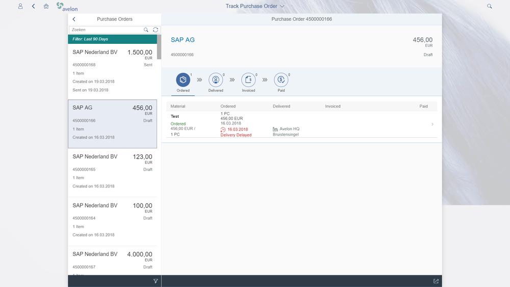 SAP Fiori status bestelling