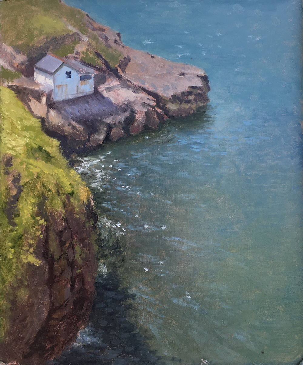 From The Cliffs at Worm's Head  Painting in oil Jennifer Sendall ( currently at RSMA Mall Galleries)