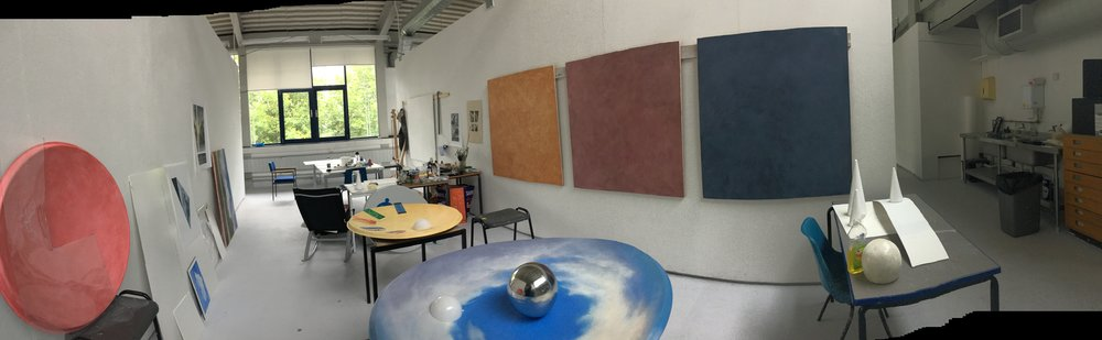 "Early studio view, works just getting to ""know each other"""
