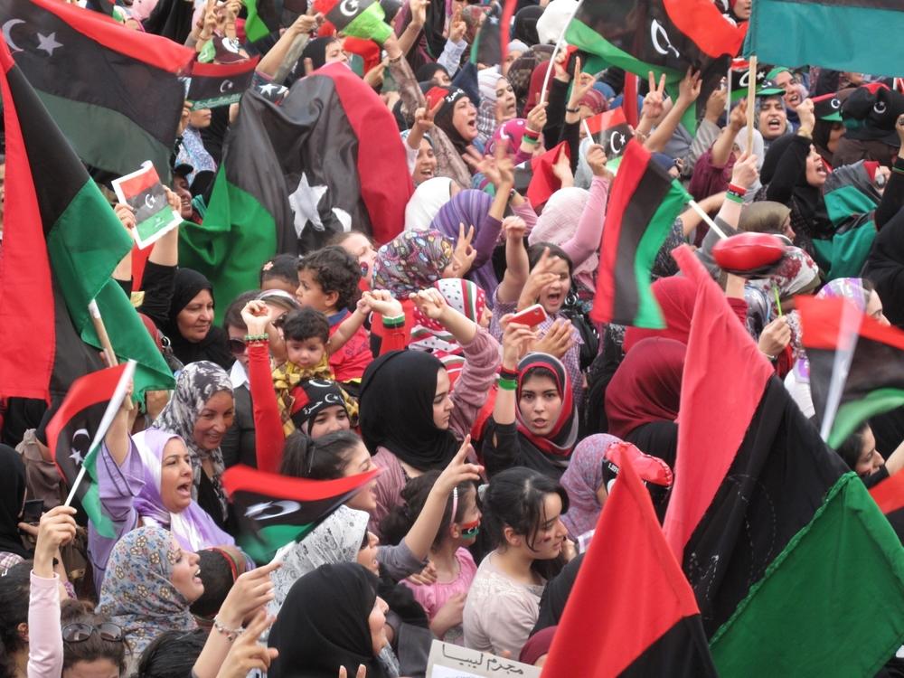Libyan women celebrate downfall of dictator Muammar Gaddafi.© Ruth Pollard 2011