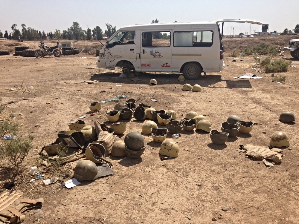 Abandoned Iraqi Army helmets following 2014 ISIS invasion. ©Ruth Pollard 2014