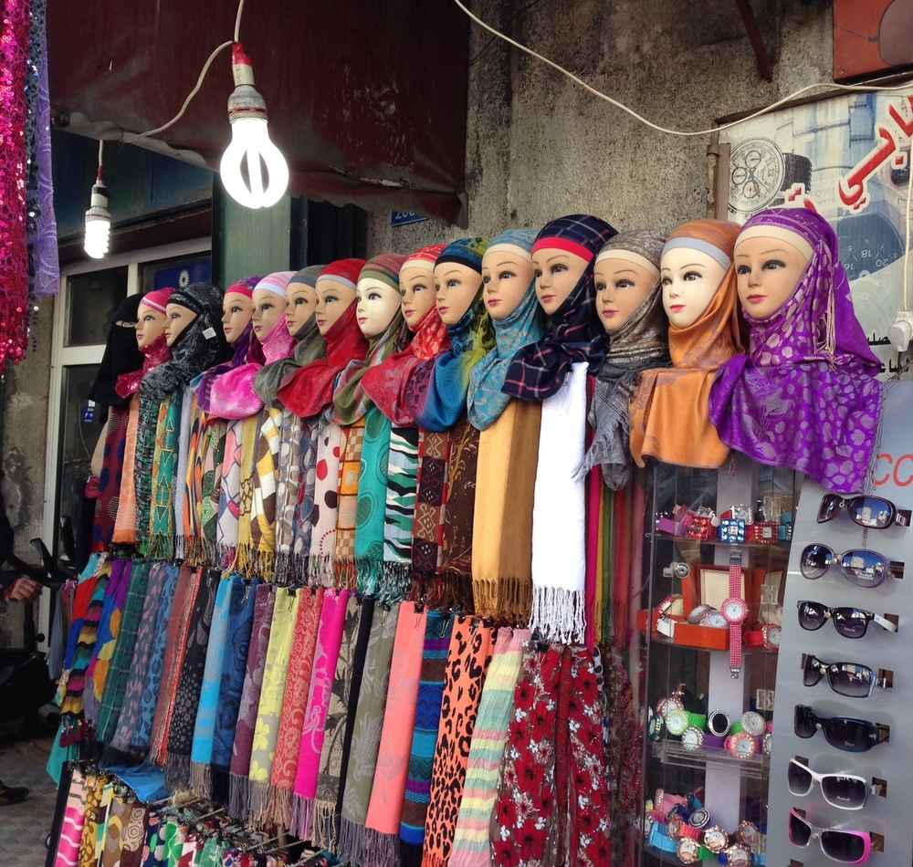 Scarves on display in the main marketplace in Gaza City. ©Ruth Pollard 2014
