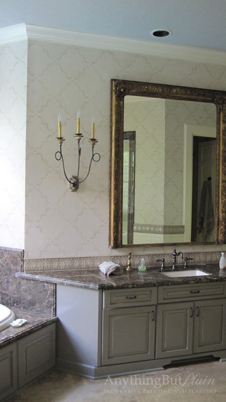 Master Bath with Texture and Faded Design