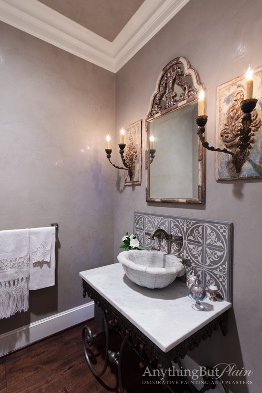 Venetian Plaster Finish Walls with Antique Mirror