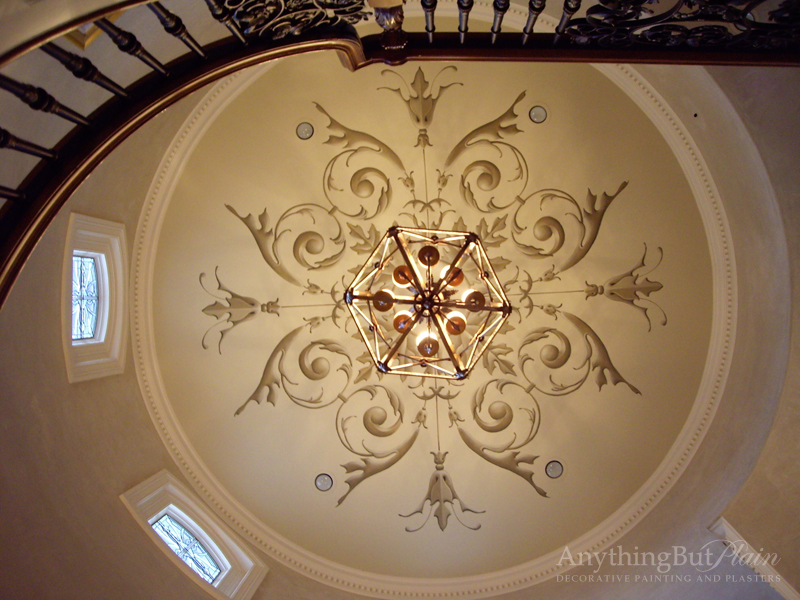 Hand-Painted Dome with Diamond Plaster