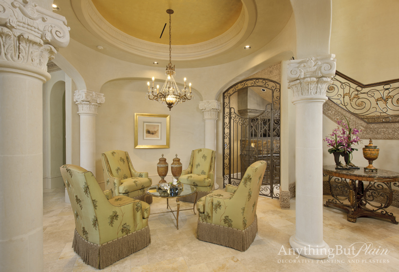 Diamond Plaster with Gold Leaf Ceiling