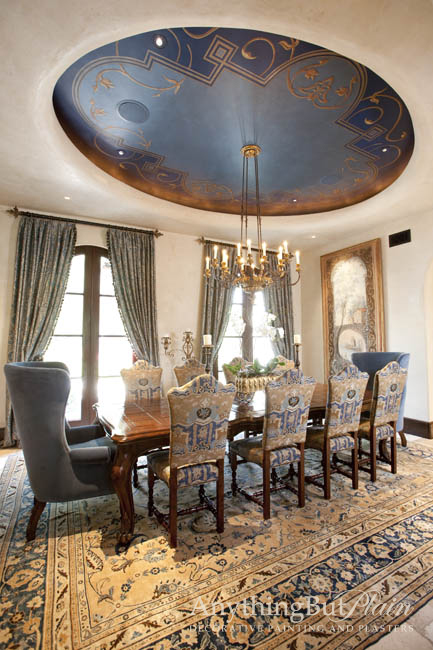 Hand-Painted Ceiling with Diamond Plaster Walls