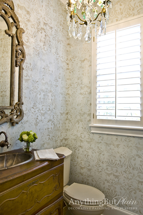 Venetian Plaster with Faded Damask