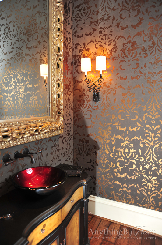 Textured Wall with Bronze Foil Damask