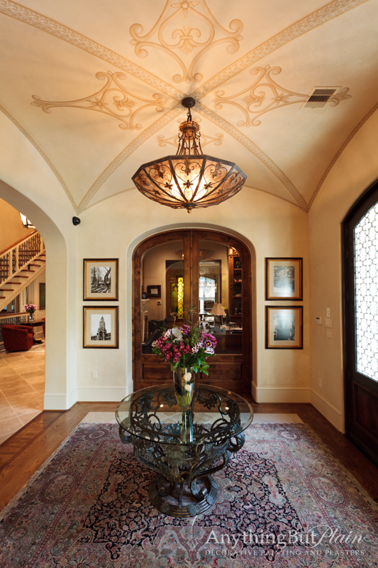 Hand-Painted Groin Ceiling and Diamond Plaster Walls