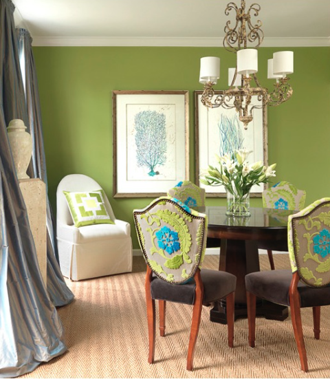 This room is gorgeous with the different shades of blue and green! We love it.
