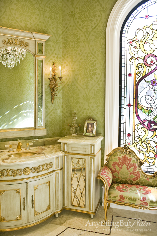 These vibrant lime green walls shimmer with metallic plaster and Fortuny design.