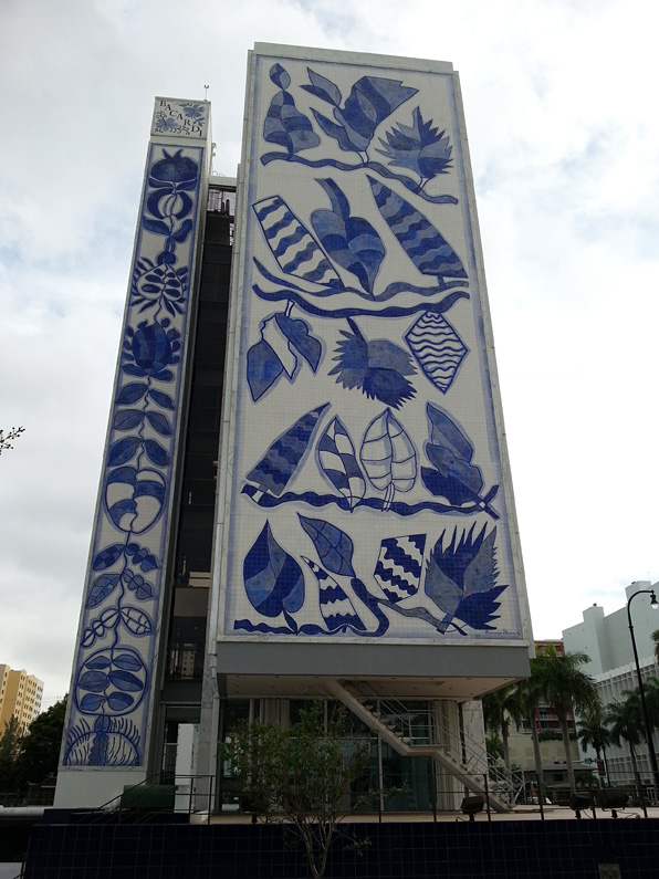 Original International headquarters for Bacardi Rum is covered in mosaic tiles, now the headquarters for YoungArts.