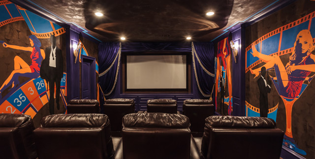 James Bond themed theater room
