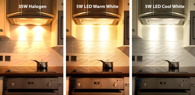 Halogen v Warm LED v Cool LED Lighting options
