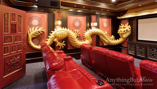 Red and Gold Asian Inspired Theater Room