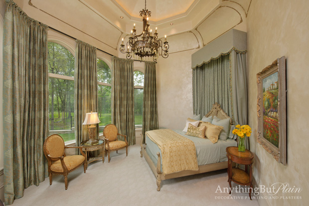 Most liked photo: Metallic plaster with Antiqued Detailing on Guest Bedroom.