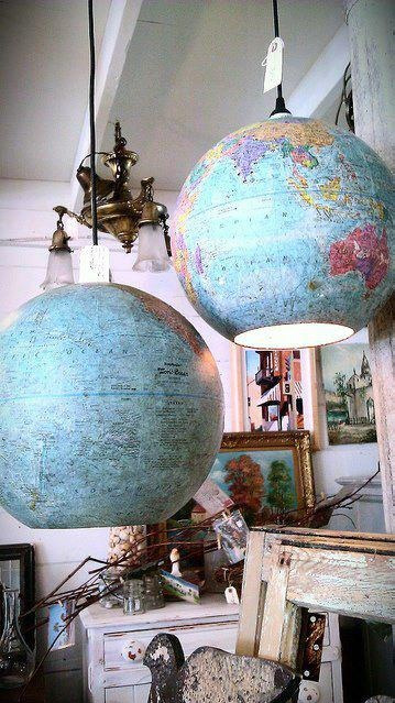 Lamps made from reused globes