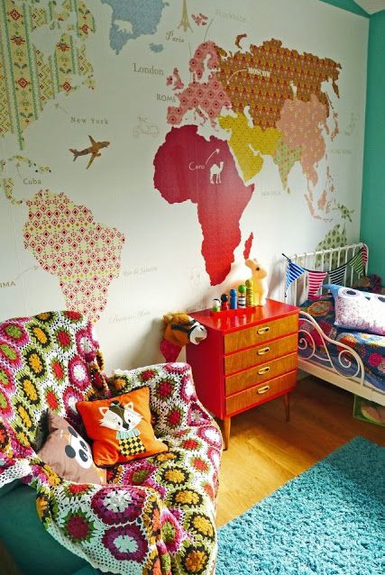 Colorful world map with patterns