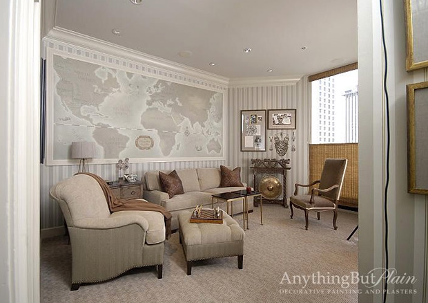 Highrise living room with map
