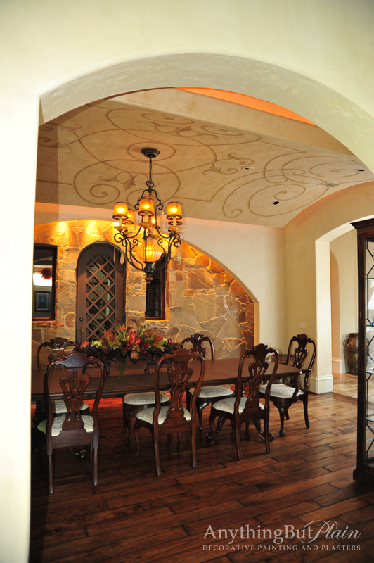Metallic Plaster with Hand-Painted Design on Ceiling