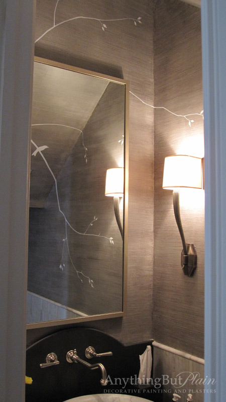 Silver Simulated Silk Finish with Hand-Painted Contemporary Design