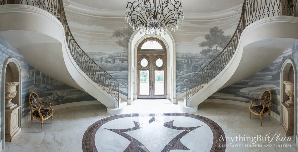 Entry Mural Grisaille Painting on a Grand Scale