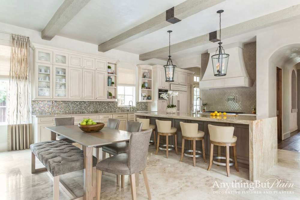 Glazed Kitchen Cabinetry with Simulated Stain on Island
