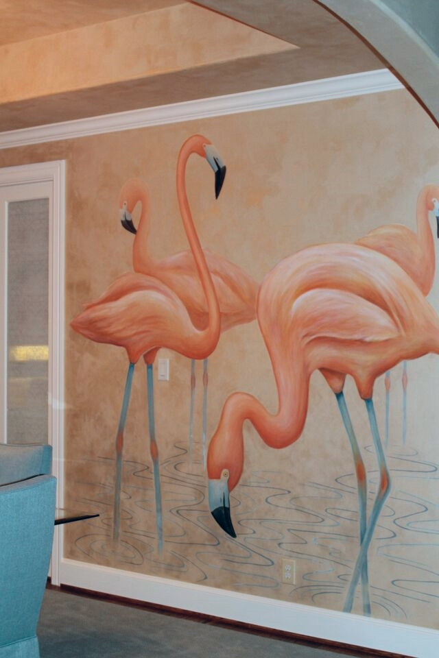 Hand Painted Flamingos
