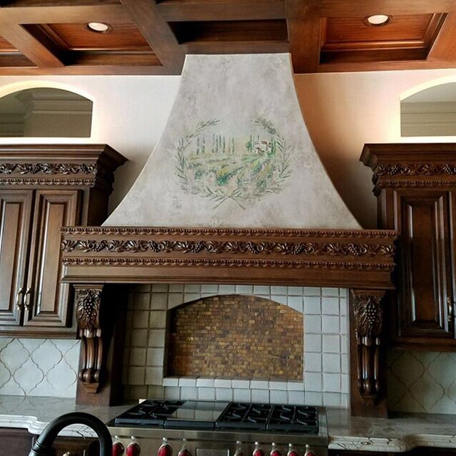 Gorgeous hand-painted hood. #foundplaster #fresco #anythingbutplain #decorativepainting